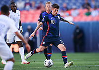 DENVER, CO - JUNE 3: Christian Pulisic #10 of the United States takes a shot during a game between Honduras and USMNT at EMPOWER FIELD AT MILE HIGH on June 3, 2021 in Denver, Colorado.
