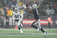 FOXBOROUGH, MA - NOVEMBER 24: Short pass to New England Patriots Wide Receiver Jakobi Meyers #16 during a game between Dallas Cowboys and New England Patriots at Gillettes on November 24, 2019 in Foxborough, Massachusetts.