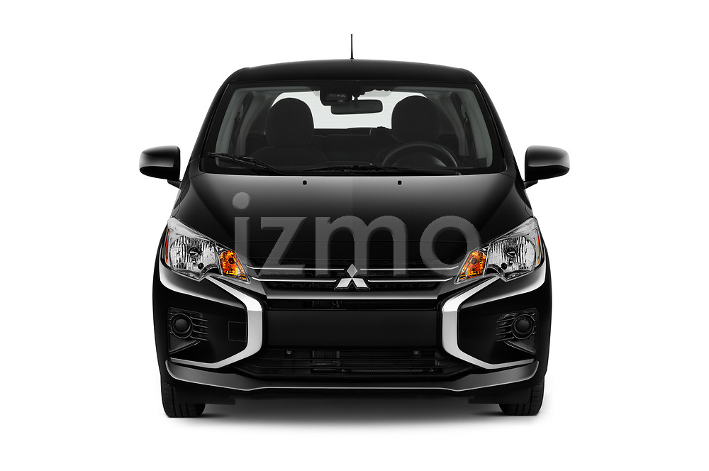 Car photography straight front view of a 2021 Mitsubishi Mirage ES 5 Door Hatchback Front View