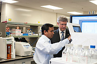 Prime Minister Stephen Harper visited the MaRS Centre on March 10, 2011 to announce continued support for cancer prevention, diagnosis, treatment and hope.<br /> <br /> Before the announcement, he visited the Ontario Institute for Cancer Research (OICR) - a MaRS tenant - to check out the research they're doing to help in the fight against cancer.