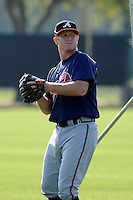 Infielder Barrett Kleinknecht (37) of the Atlanta Braves farm system in a Minor League Spring Training intrasquad game on Wednesday, March 18, 2015, at the ESPN Wide World of Sports Complex in Lake Buena Vista, Florida. (Tom Priddy/Four Seam Images)