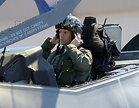 FORT LAUDERDALE, FLORIDA - MAY 05: F-35 Lightning II Joint Strike Fighter. This is the FIRST TIME the F35 is flying out of a civilian airport to support an air show seen here at a private FBO at Fort Lauderdale–Hollywood International Airport on May 5, 2016 in Fort Lauderdale, Florida. <br /> <br /> <br /> People:  F-35 Lightning II Joint Strike Fighter