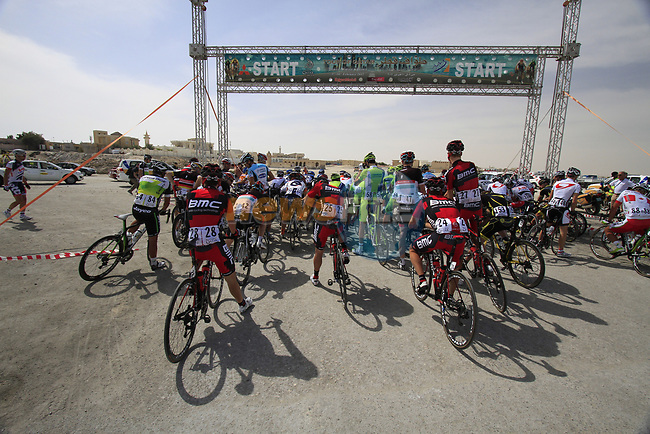 Riders line up for the start of Stage 4 of the 2012 Tour of Qatar from Al Thakhira to Madinat Al Shamal, Qatar. 8th February 2012.<br /> (Photo Eoin Clarke/Newsfile)