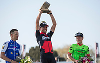 podium ceremony:<br /> 1. Greg Van Avermaet (BEL/BMC)<br /> 2. Zdenek Stybar (CZE/Quick Step Floors)<br /> 3. Sebastian Langeveld (NED/Cannondale Drapac)<br /> <br /> 115th Paris-Roubaix 2017 (1.UWT)<br /> One day race: Compiègne > Roubaix (257km)