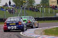 Round 3 of the 2002 British Touring Car Championship. #29 Paul O'Neill (GBR). Egg Sport. Vauxhall Astra Coupé. #12 Warren Hughes (GBR). MG Sport & Racing. MG ZS.