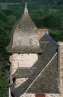 Europe/France/Auvergne/12/Aveyron/Env. de Laguiole: Détail du toit d'une ferme d'Aubrac