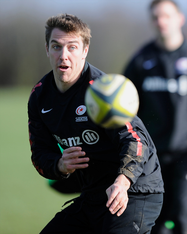 20130131 Copyright onEdition 2013©.Free for editorial use image, please credit: onEdition..Chris Wyles trains during the Saracens Captains Run at Old Albanians Rugby Club, St Albans on Thursday 31st January 2013 (Photo by Rob Munro)..For press contacts contact: Sam Feasey at brandRapport on M: +44 (0)7717 757114 E: SFeasey@brand-rapport.com..If you require a higher resolution image or you have any other onEdition photographic enquiries, please contact onEdition on 0845 900 2 900 or email info@onEdition.com.This image is copyright onEdition 2013©..This image has been supplied by onEdition and must be credited onEdition. The author is asserting his full Moral rights in relation to the publication of this image. Rights for onward transmission of any image or file is not granted or implied. Changing or deleting Copyright information is illegal as specified in the Copyright, Design and Patents Act 1988. If you are in any way unsure of your right to publish this image please contact onEdition on 0845 900 2 900 or email info@onEdition.com