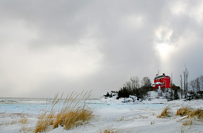 Marquette Lighthouse winter lighthouses in the Upper Peninsula of Michigan