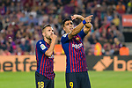 Luis Suarez (R) talks to Jordi Alba of FC Barcelona (L) during the La Liga 2018-19 match between FC Barcelona and Sevilla FC at Camp Nou Stadium on October 20 2018 in Barcelona, Spain. Photo by Vicens Gimenez / Power Sport Images