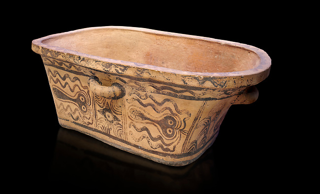Minoan  pottery bath tub  larnax decorated with stylised octopuses,  Episkopi-Lerapetra 1350-1250 BC, Heraklion Archaeological  Museum, black background.<br /> <br /> To the Greeks, the Underworld was entered by water. As with many other Minoan bathtubs, this one was probably later used as a coffin to convey the deceased across the sea, where marine imagery would be equally appropriate. The two functions of bathtubs, bathing and burial, combine in the story of Agamemnon who, on return from Troy, was murdered by his wife and her lover in a silver bath.