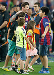 FC Barcelona's Leo Messi celebrates the victory in the Spanish King's Cup Final match with his family. May 30,2015. (ALTERPHOTOS/Acero)