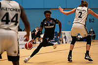 Tony Hicks of Surrey Scorchers drives forward during the BBL Championship match between Surrey Scorchers and Newcastle Eagles at Surrey Sports Park, Guildford, England on 20 March 2021. Photo by Liam McAvoy.
