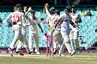 11th January 2021; Sydney Cricket Ground, Sydney, New South Wales, Australia; International Test Cricket, Third Test Day Five, Australia versus India; Ajinkya Rahane of India walks after losing his wicket as Australia celebrate