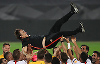 21st August 2020, Rheinenergiestadion, Cologne, Germany; Europa League Cup final Sevilla versus Inter Milan;  Julen Lopetegui, Head Coach of Sevilla is thrown into the air in celebration by his players following their team's victory
