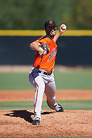 San Francisco Giants pitcher Conner Menez (45) during an Instructional League game against the Los Angeles Angels of Anaheim on October 13, 2016 at the Tempe Diablo Stadium Complex in Tempe, Arizona.  (Mike Janes/Four Seam Images)