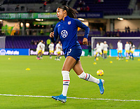 ORLANDO, FL - JANUARY 18: Margaret Purce #23 of the USWNT enters the field before a game between Colombia and USWNT at Exploria Stadium on January 18, 2021 in Orlando, Florida.