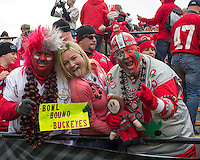 """Ohio State fans """"Buckeye man"""" and """"Bucknut"""". The Ohio State Buckeyes defeated the Purdue Boilermakers 56-0 at Ross-Ade Stadium, West Lafayette, Indiana on November2, 2013."""