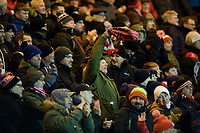 Lincoln City fans celebrate their teams goal, scored by Lincoln City's Liam Bridcutt<br /> <br /> Photographer Chris Vaughan/CameraSport<br /> <br /> The EFL Sky Bet League One - Lincoln City v Milton Keynes Dons - Tuesday 11th February 2020 - LNER Stadium - Lincoln<br /> <br /> World Copyright © 2020 CameraSport. All rights reserved. 43 Linden Ave. Countesthorpe. Leicester. England. LE8 5PG - Tel: +44 (0) 116 277 4147 - admin@camerasport.com - www.camerasport.com