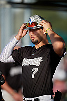 Jesus Pena (7) during the WWBA World Championship at Lee County Player Development Complex on October 8, 2020 in Fort Myers, Florida.  Jesus Pena, a resident of Miami, Florida who attends Miami Springs Senior High School, is committed to Wake Forest.  (Mike Janes/Four Seam Images)