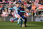 Iago Aspas Juncal of RC Celta de Vigo (L) fights for the ball with Paulinho of FC Barcelona (R) during the La Liga 2017-18 match between FC Barcelona and RC Celta de Vigo at Camp Nou Stadium on 02 December 2017 in Barcelona, Spain. Photo by Vicens Gimenez / Power Sport Images