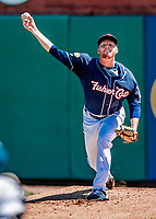 18 July 2018: New Hampshire Fisher Cats pitcher Josh DeGraaf warms up prior to facing the Trenton Thunder at Northeast Delta Dental Stadium in Manchester, NH. The Thunder defeated the Fisher Cats 3-2 concluding a previous game started April 29. Mandatory Credit: Ed Wolfstein Photo *** RAW (NEF) Image File Available ***