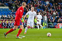 Wednesday 05 March 2014<br /> Pictured: Sam Vokes challenges keeper Hannes Thor Halldorsson of Iceland<br /> Re: International friendly Wales v Iceland at the Cardiff City Stadium, Cardiff,Wales UK