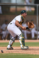 Oakland Athletics catcher Max Kuhn (11) during an Instructional League game against the San Francisco Giants on October 15, 2014 at Papago Park Baseball Complex in Phoenix, Arizona.  (Mike Janes/Four Seam Images)