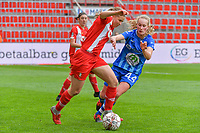Feli Delacauw (44) of AA Gent and Aster Janssens (5) of Standard pictured during a female soccer game between Standard Femina de Liege and AA Gent Ladies on the 6th matchday in play off 1 of the 2020 - 2021 season of Belgian Scooore Womens Super League , tuesday 11 th of May 2021  in Liege , Belgium . PHOTO SPORTPIX.BE   SPP   STIJN AUDOOREN