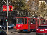 Straßenbahn auf Bulevar Kralja Aleksandra, Belgrad, Serbien, Europa<br /> streetcar at Bulevar Kralja Aleksandra, Belgrade, Serbia, Europe