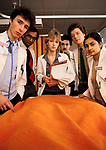 Student doctors Ward Round Teaching hospital St Georges Hospital South London 1980s