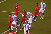 Action photo during the match Argentina vs Chile corresponding to the Final of America Cup Centenary 2016, at MetLife Stadium.<br /> <br /> Foto durante al partido Argentina vs Chile cprresponidente a la Final de la Copa America Centenario USA 2016 en el Estadio MetLife , en la foto:(i-d) Arturo Vidal de Chile y Ramiro Funes Mori de Argentina<br /> <br /> <br /> 26/06/2016/MEXSPORT/JAVIER RAMIREZ