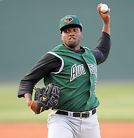 Pitcher Mario Rodriguez (28) of the Augusta GreenJackets, Class A affiliate of the San Francisco Giants, in a game against the Greenville Drive on April 8, 2011, at Fluor Field at the West End in Greenville, S.C. Photo by Tom Priddy / Four Seam Images