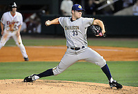 August 2, 2008: New York Yankees pitcher Phil Hughes pitched in a rehab assignment with the Charleston River Dogs in a game against the Greenville Drive at Fluor Field at the West End in Greenville, S.C. Hughes pitched three scoreless innings, giving up one hit and one walk with four strikeouts for the Yankees' Class A South Atlantic League affiliate. Photo by:  Tom Priddy/Four Seam Images