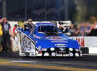 Nov 7, 2013; Pomona, CA, USA; NHRA funny car driver Robert Hight during qualifying for the Auto Club Finals at Auto Club Raceway at Pomona. Mandatory Credit: Mark J. Rebilas-