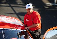 Apr. 29, 2011; Baytown, TX, USA: NHRA pro stock driver V Gaines during qualifying for the Spring Nationals at Royal Purple Raceway. Mandatory Credit: Mark J. Rebilas-