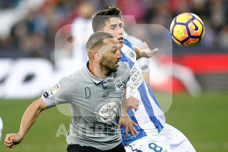 CD Leganes' Gabriel Pires (r) and Deportivo de la Coruna's Guilherme Dos Santos during La Liga match. February 25,2017. (ALTERPHOTOS/Acero)