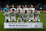 Real Madrid's team photo with Keylor Navas, Sergio Ramos, Nacho Fernandez, Karim Benzema, Carlos Henrique Casemiro, Federico Valverde, Lucas Vazquez, Alvaro Odriozola, Sergio Reguilon, Dani Ceballos and Vinicius Jr. during Copa Del Rey match between Real Madrid and CD Leganes at Santiago Bernabeu Stadium in Madrid, Spain. January 09, 2019. (ALTERPHOTOS/A. Perez Meca)<br />  (ALTERPHOTOS/A. Perez Meca)