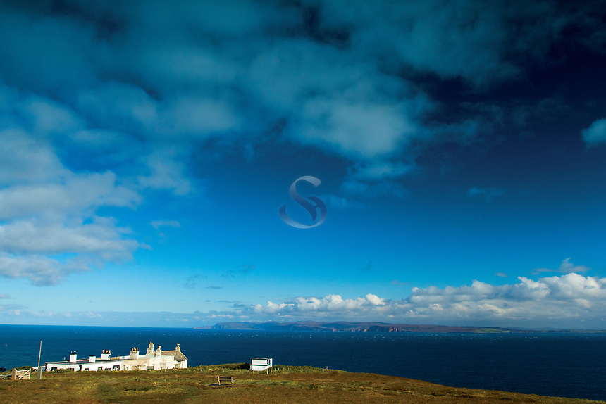 The Orkney Islands of Hoy and Mainland and The Pentland Firth from Dunnet Head, mainland Britain's northernmost point, Caithness