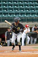 Bristol Pirates infielder Victor Ngoepe (5) at bat during a game against the Greeneville Reds at Pioneer Field on June 20, 2018 in Greeneville, Tennessee. Bristol defeated Greeneville 11-0. (Robert Gurganus/Four Seam Images)