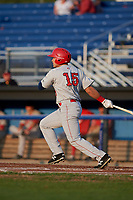 Auburn Doubledays right fielder Kameron Esthay (15) follows through on a swing during a game against the Batavia Muckdogs on August 26, 2017 at Dwyer Stadium in Batavia, New York.  Batavia defeated Auburn 5-4.  (Mike Janes/Four Seam Images)