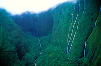 Waterfalls, Waialeale crater aerial, wettest spot on earth, Kauai