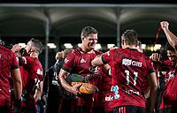 Crusaders captain Scott Barrett celebrates winning the 2021 Super Rugby Aotearoa final between the Crusaders and Chiefs at Orangetheory Stadium in Christchurch, New Zealand on Saturday, 8 May 2021. Photo: Joe Johnson / lintottphoto.co.nz