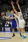 Real Madrid´s Sergio Llull and Anadolu Efes´s Thomas Heurtel during 2014-15 Euroleague Basketball Playoffs match between Real Madrid and Anadolu Efes at Palacio de los Deportes stadium in Madrid, Spain. April 15, 2015. (ALTERPHOTOS/Luis Fernandez)