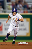 LSU Tigers outfielder Chris Sciambra #5 rounds second base in the first inning against the Mississippi State Bulldogs during the NCAA baseball game on March 16, 2012 at Alex Box Stadium in Baton Rouge, Louisiana. LSU defeated Mississippi State 3-2 in 10 innings. (Andrew Woolley / Four Seam Images).