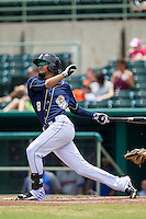 San Antonio Missions shortstop Jose Rondon (8) follows through on his swing during the Texas League baseball game against the Midland RockHounds on June 28, 2015 at Nelson Wolff Stadium in San Antonio, Texas. The Missions defeated the RockHounds 7-2. (Andrew Woolley/Four Seam Images)