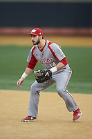 Sacred Heart Pioneers first baseman Austin Markmann (14) on defense against the Wake Forest Demon Deacons at David F. Couch Ballpark on February 15, 2019 in  Winston-Salem, North Carolina.  The Demon Deacons defeated the Pioneers 14-1. (Brian Westerholt/Four Seam Images)