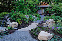 A gently curving path leads towards the Tateuchi Viewing Pavilion in the Bellevue Botanical Garden, Bellevue, Washington State.