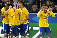 Esultanza de Neymar jr (Brasile) apres son but <br /> Parigi 26-03-2015 Stade De France Calcio Football 2014/2015 Amichevole Francia Brasile <br /> Foto Panoramic / Insidefoto