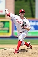 Reading Phillies relief pitcher Justin De Fratus #41 delivers a pitch during a game against the New Hampshire Fisher Cats at FirstEnergy Stadium on May 5, 2011 in Reading, Pennsylvania.  New Hampshire defeated Reading by the score of 10-5.  Photo By Mike Janes/Four Seam Images
