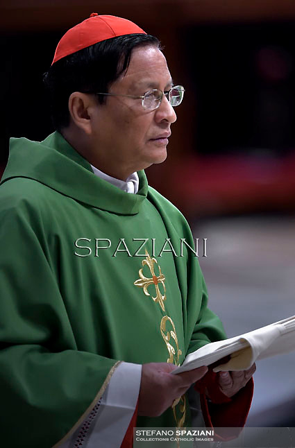 Cardinal Charles Maung Bo.Pope Francis,  at St. Peter's Basilica in Vatican.during the mass New Cardinals on February 15 2015